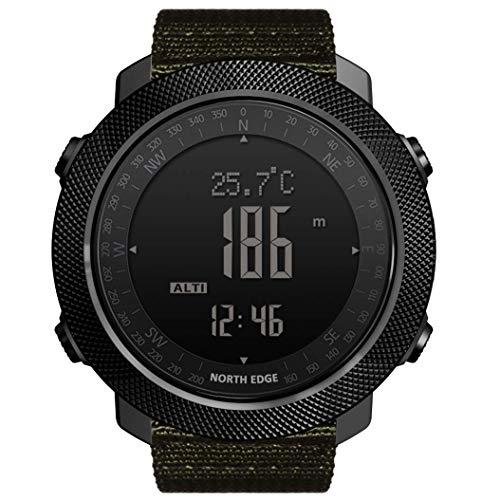 NORTH EDGE Apache Herren Outdoor Sport Digital Armbanduhr Multifunktionale Smart Watch Schwimmen Militär Armee Uhren Höhenmesser Barometer Kompass Wasserdicht 50m grün