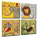 Vintage Cartoon Animal Canvas Wall Art Elephant Lion Monkey Parrot Inspiration for Kids Boy Girl Room Decoration,Framed (Animals, 12x12inchx4pcs (30x30cmx4pcs))