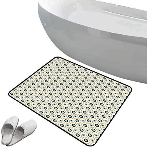 Tapis de bain antidérapant Paillasson Rétro sol antidérapant en caoutchouc Taches de cercles et de points de différentes tailles inspirées du Pop Art symétrique,bleu ciel noir ambre,Intérieur/Extérieu