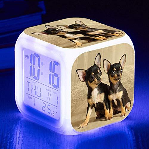 HUA5D Despertador Digital Perro Mascota Infantil Regalos De Cumpleaños Wake Up Light Alarm Clocks Niño & Niña Dormitorio Decorar-Niños 7 Color Cambiante Luz Nocturna Lampara De Cabecer(B248)