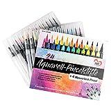 24 Aquarell-Pinselstifte & 4 Wassertank-Pinsel mit Nylon-Haarbürstenkopf   Brush Pen Set   auf Wasserbasis   ideal für Handlettering, Kalligraphie, Malen, Zeichnen