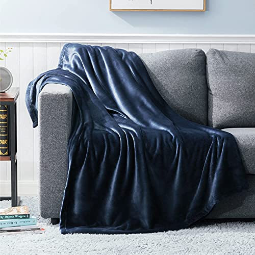 Bedsure Navy Blue Throw Blanket Fleece - 300GSM Throw Blankets for Couch, Sofa, Bed, Soft Lightweight Plush Cozy Blankets and Throws for Toddlers, Kids, Boys