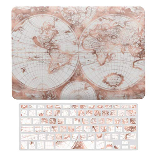 MacBook Pro 13 inch Case 2020 2019 2018 2017 Release A2159 A1989 A1706, Plastic Hard Shell Case&Screen Protector with Keyboard Cover, Rose Gold Pink Metal Glitter Antique World Map