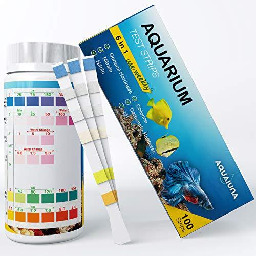 AQUALUNA Aquarium Test Strips 6 in 1 for Freshwater and Saltwater- Fish Tank Test Kit Monitoring...