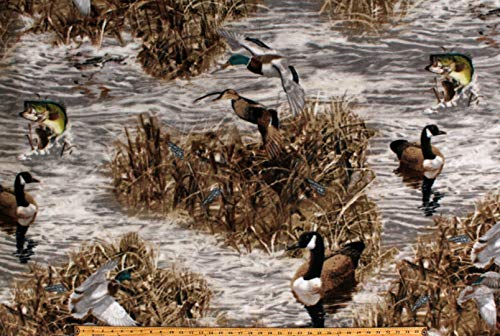 Fleece (not for masks) Realtree Camo Ducks Fish Geese Hunting Wildlife Water Marsh Camouflage Fleece Fabric Print by The Yard (A505.36)