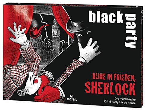 moses. Verlag GmbH 90077 black party | Ruhe in Frieden, Sherlock | Die mörderische Krimi-Party für zu Hause | Das Krimi-Rätsel zur Dinner Party | Für 6-7 Spieler