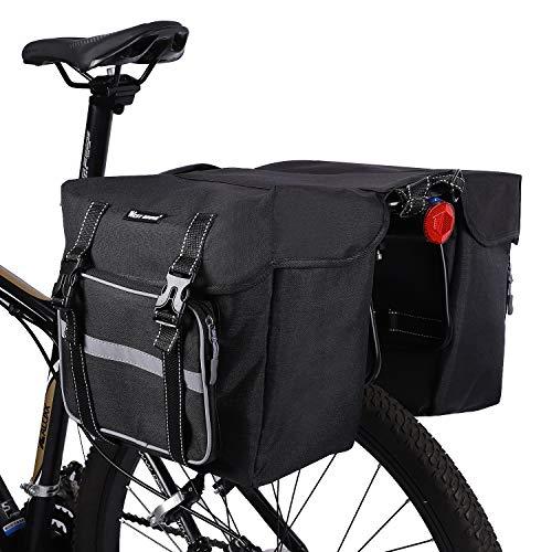 ICOCOPRO Fahrrad Doppeltasche, Double Bag, Gepäckträgertasche, Satteltasche,Seitentasche, Wasserdicht, IPX4, ultrakomfortabel, 2 Farben(Schwarz, Grau)
