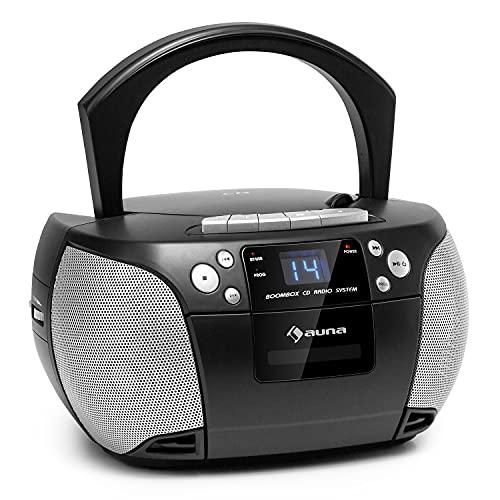 auna Harper CD Boombox, CD-Player, Bluetooth-Funtion, Kassettenspieler, UKW-Radiotuner, AUX-Eingang, USB-Port, LED-Display, Strom/Batteriebetrieb, schwarz