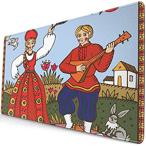 Gaming Alfombrillas de ratón extendidas con Base de Goma Antideslizante Baile Tradicional Ruso Tradicional Mujer y Hombre 30X80 cm