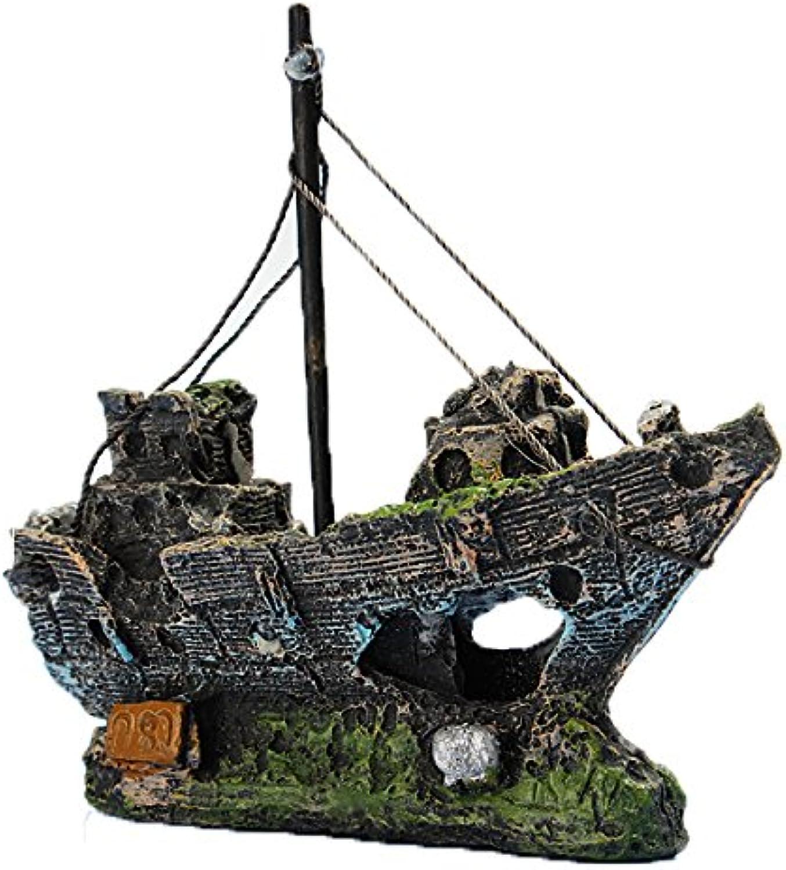 Resin Fishing Boat Aquarium Ornament Decoration For Fish Tank