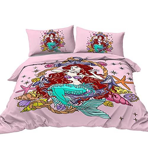 Juego de Cama de Sirena Juego de Suministros de Cama Doble de Sirena Adecuado para niños y niñas Juego de 3 Piezas Funda nórdica psicodélica Rosa púrpura Azul 5 220x240cm+2X (50x75cm)
