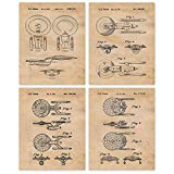 Vintage Star Trek Patent Art Poster Prints, Set of 4 (8x10) Unframed Photos, Wall Art Decor Gifts Under 20 for Home, Office, Garage, Shop, Man Cave, Student, Teacher, Comic-Con & Movies Fan