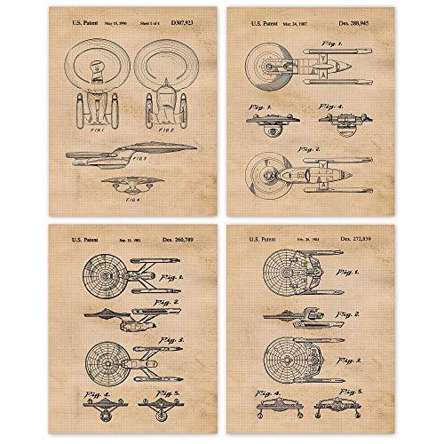 Vintage Star Trek Patent Art Poster Prints, Set of 4 (8x10) Unframed Photos, Wall Art Decor Gifts Under 20 for Home, Office, Garage, Shop, Man Cave, Student, Teacher, Comic-Con & Movies Fan