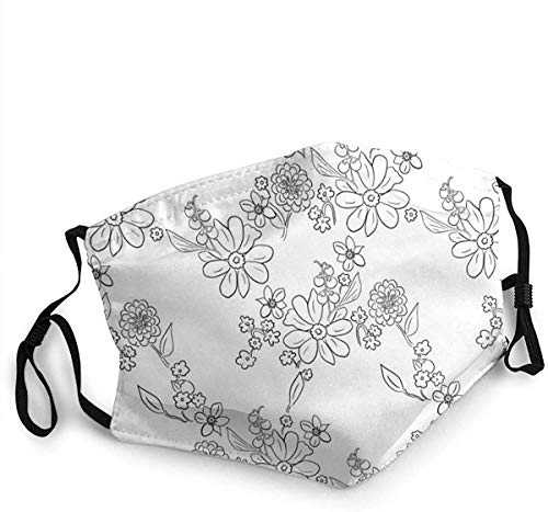 Hand Drawn Garden Lattice White Black Face scarfs Washable Reusable Safety scarfs Protection from Dust Pollen Pet Dander Other Airborne