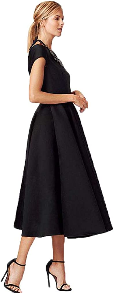 Fashionbride Women's Tea-Length Mother of The Bride Dresses with Pockets Satin Short Sleeves Formal Evening Gown ED33