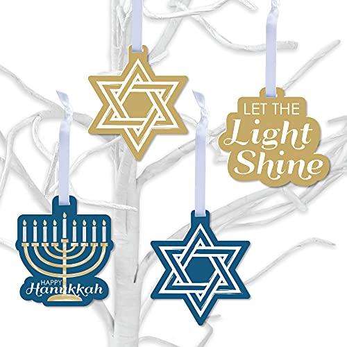 Big Dot of Happiness Happy Hanukkah - Chanukah Holiday Decorations - Tree Ornaments - Set of 12