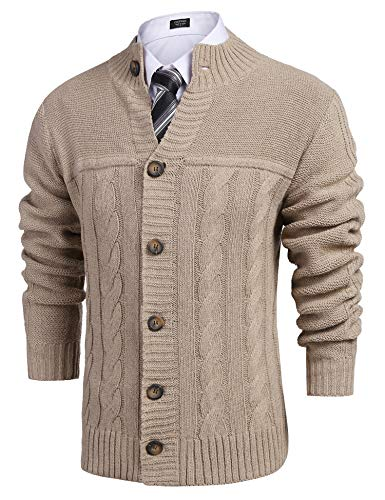 COOFANDY Mens Classic Stand Collar Button Front Knit Cardigan Sweaters (Khaki S)