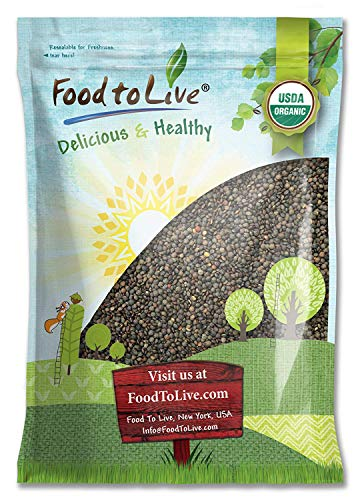 Organic French Green Lentils, 15 Pounds - Whole Dry Beans, Non-GMO, Kosher, Raw, Sproutable, Bulk