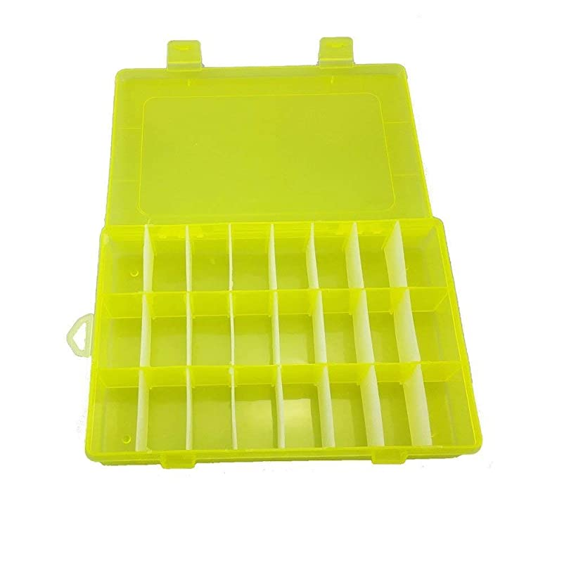 Kalolary 24 Grids Clear Plastic Jewelry Organizer Box with Adjustable Dividers, Removable Grid Compartment Storage Container for Bead Storage, Letter Board Letters, Fishing Tackle(Yellow)