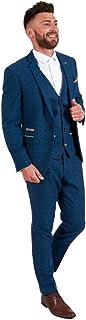 Classic 3 Pieces Vintage Blue Tweed Herringbone Wool Tailored Men Suits