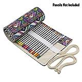 BTSKY Estuche Enrrollado de Lona con 72 Agujeros Cortina de Lápices de Dibujo Arrollable Bolsa de Lápiz de Tela de Gran Capacidad Organizador para Envolver Lápices de Colores, Estilo Bohemia