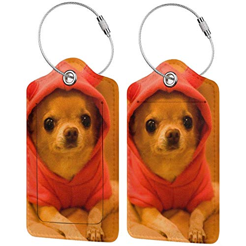 Leather Travel Luggage Tags,Depressed Chihuahua Printed Travel Id Labels,Business Card Holder,Suitcase Labels,Travel Accessories,with Privacy Cover Stainless Steel Ring