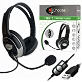 USB Headset with Microphone for PC Laptop Computer | Compatible for Zoom Skype & Office Conference Call | In-line Volume Controls | Lightweight & Comfortable | F18BITZ Stereo Headset & Mic