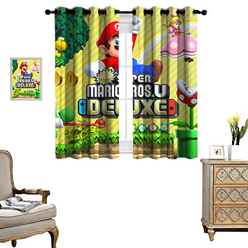 DRAGON VINES Blackout Curtains for Living Room Bedroom Curtains New Super Mario Bros u deluxe浴帘 Thermal Insulated Blackout Curtains Set of 2 Panels W72 x L84