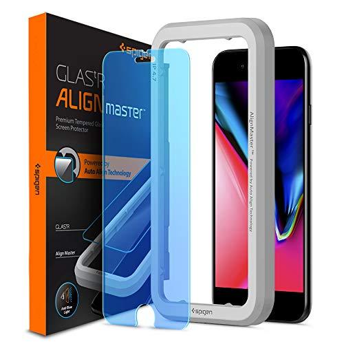Spigen, Filtro Luci Blu Vetro Temperato iPhone 8 / iPhone 7 / 6S, AlignMaster, Installazione con Cornice di Allineamento, Anti-Luci Blue iPhone 8/7/6S (AGL01142)