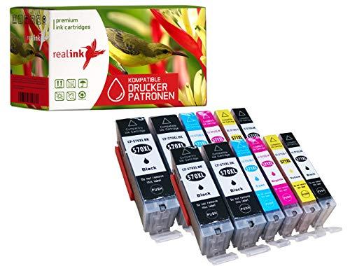 Compatibele Realink® inktpatronen vervangen Canon PGI570 XL CLI571XL met chip - compatibel met Canon Pixma MG5750, MG5751, MG5752, MG5753, MG6850, MG6851, MG6852, MG6853 4 big Black, 2 small Black, 2 (C/M/Y) Voordeelset 4: pak van 12 (bl/C/M/Y).