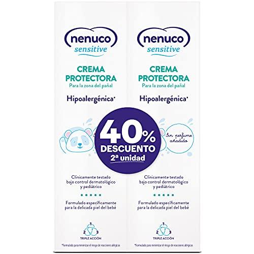 Nenuco - Sensitive crema protectora para la zona del pañal, hipoalergenica y sin perfumes añadidos, duplo pack 2x100ml