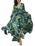 WangsCanis Damen-Kleid, lang, Bohème, V-Ausschnitt, hohe Taille, bedruckt, Langarm, Sommer, Herbst, elegant, grün, XXXXXL