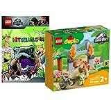 Collectix Juego de dinosaurio Lego – Duplo del T-Rex y Triceratops 10939 + Lego Jurassic World (cubierta blanda)