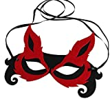 Bodermincer Sexy Women Fox Half Face Mask Adult Children Mask Halloween Host Banquet Party Eye Face Mask Masquerade Party (Red+Black)