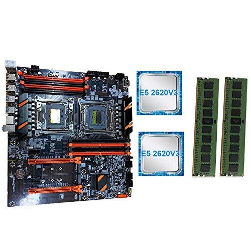 Moligh doll Neues X99 Dual Computer Motherboard LGA2011 CPU RECC DDR4 Erinnerung Spiel Motherboard mit E5 2620 V3 CPU, 2X8GB