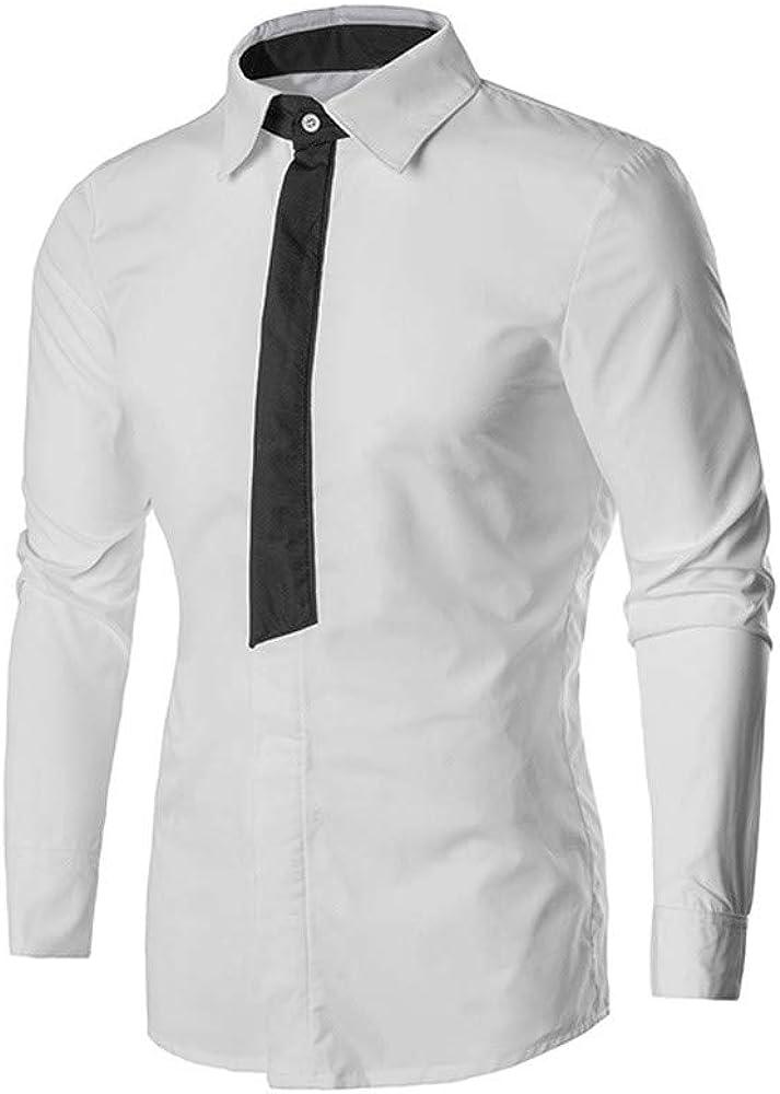 MODOQO Men's Casual Slim Fit Shirt Long Sleeve Button Down Dress Shirt