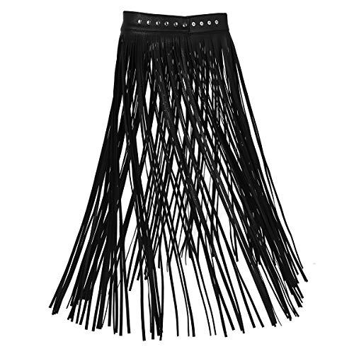 Agoky Damen Winter Fransen Lederrock Maxirock Hohe Taille Hippie Rock Lang Plisseerock Ausgestellt Quaste Skirt in schwarz, weiß Schwarz M