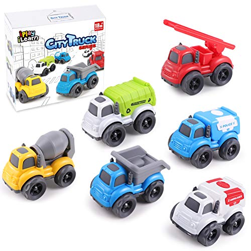 iPlay, iLearn Friction Powered Construction Vehicle Set, Inertial Push Go City Rescue Car Toy, Dump, Garbage, Cement, Fire Truck, Police, Gift for 18 24 Months 2 3 4 Year Olds Kids Toddler Boy Girl