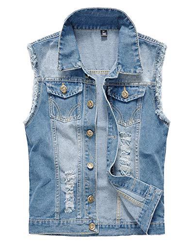 Uomo Vintage, Denim Gilet, Giacca in Jeans, Senza Maniche, Giacca Cowboy Azzurro Chiaro L