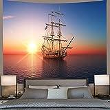 Tapiz decoración Pared Arte Tapiz de fantasía Fénix Sunrise Sea Aerolite Art Tapices para Colgar en la Pared para la decoración del Dormitorio del hogar de la Sala de estar-59x79inch