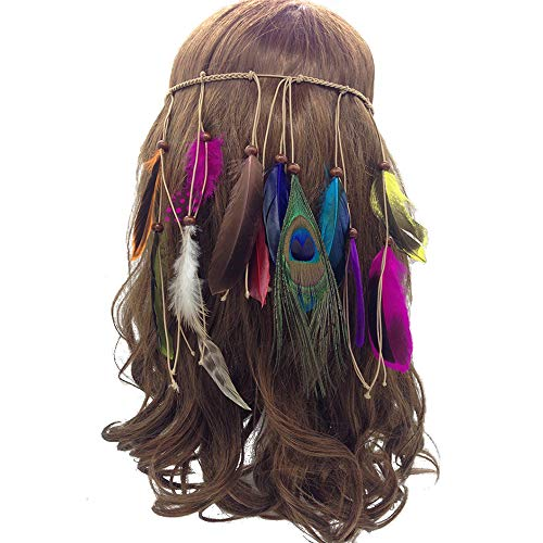 Feather Headband Hippie Indian Boho Hair Hoops Tassel Bohemian Headdress Headwear Headpiece Women Girls Kids Crown Hairband Hair Bands Party Decoration Cosplay Costume Handmade Hair Accessories Color