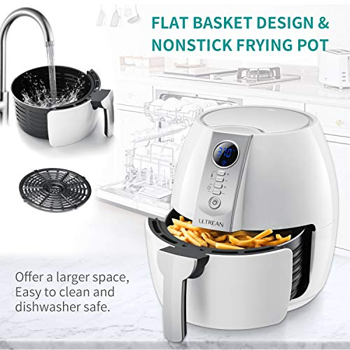Ultrean Air Fryer, 4.2 Quart (4 Liter) Electric Hot Air Fryers Oven Oilless Cooker with LCD Digital Screen and Nonstick Frying Pot, UL Certified,1-Year Warranty,1500W (White)