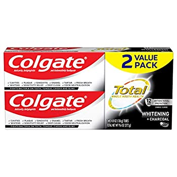 Colgate Total Charcoal Teeth Whitening Toothpaste 12 Hour Antibacterial Protection Mint - 4.8 Ounce  2 Pack