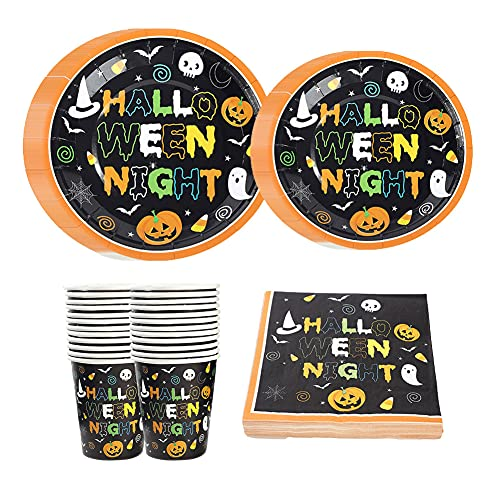 CAKEY 96 PCS Tableware Supplies Tableware Plates Cups Happy Halloween Decoration Thanksgiving Decorations for Home Party Halloween