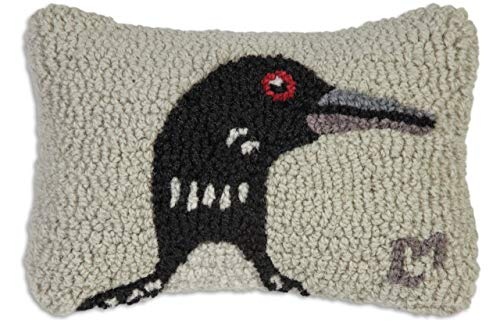 "Chandler 4 Corners Artist-Designed Loon Hand-Hooked Wool Decorative Petite Throw Pillow (8"" x 12"")"