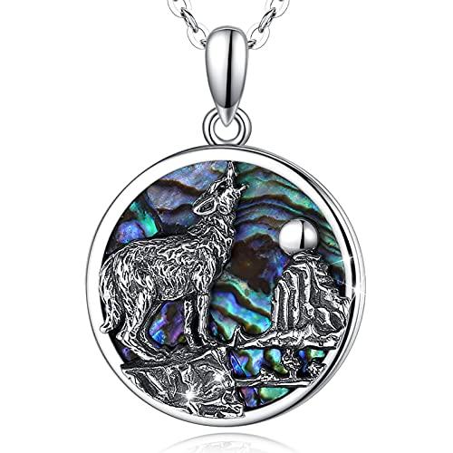 Collar de Lobo Plata de Ley 925 para Mujer Hombre, AEONSLOVE Colgante Lobo Concha de Abulón Regalos Vikingos
