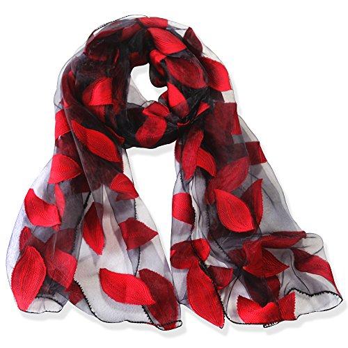 YFZYT Organza-Schal für Damen mit Feder Stickerei Muster/Elegantes Accessoire für Frauen/Organza-Schal/Halstuch/Schulter-Tuch/Schal Chiffon Stola Scarves - Rote Blätter