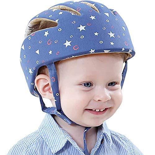 赤ちゃんヘルメット ごっつん防止 頭全体を守る 超軽量 通気性抜群 100%綿 サイズ調整可能 ブルー星