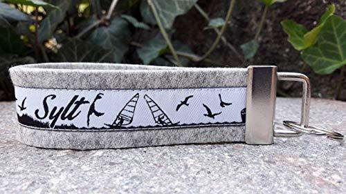 Schlüsselanhänger Schlüsselband Wollfilz hellgrau Webband Sylt schwarz weiß Geschenk !