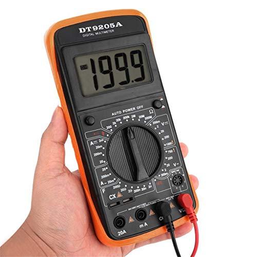 Messgerät Digitaler Kapazitätsinduktivitätswiderstandstester mit Batterieclip Beuteltester Messgerät Digital DT-9205A Multimeter AC/DC Amperemeter Widerstands-Kapazitäts-Tester Hz hFE (schwarz)